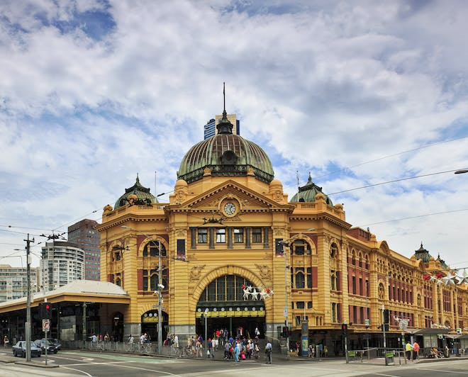 The Flinders Street Railway Station, in Melbourne, Australia
