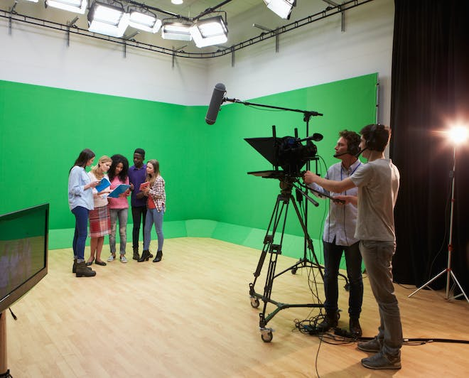 Media Studies students taking a tour of a TV studio