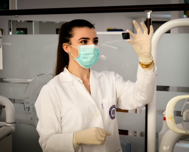 Female doctor working in a laboratory