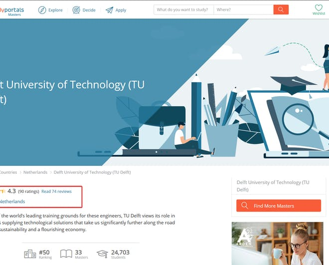 Student reviews on the individual university pages on Studyportals' websites