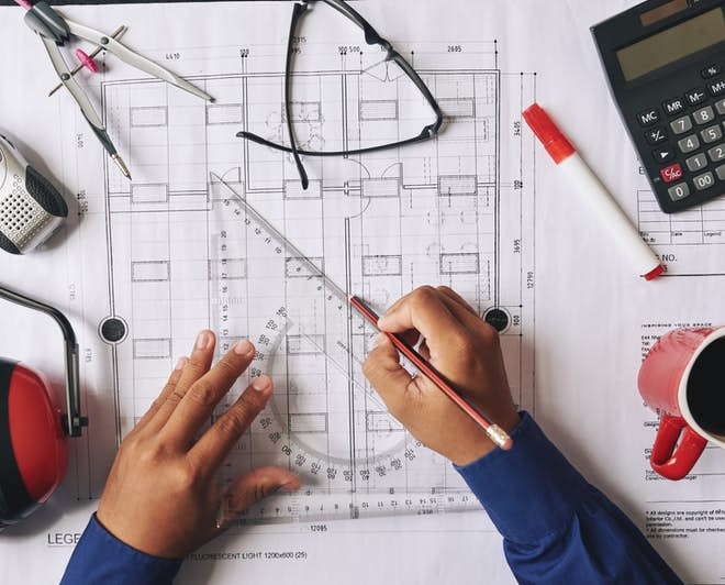 Civil engineer working on a building design