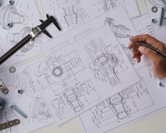 Engineering plans, drawings, and measuring tools