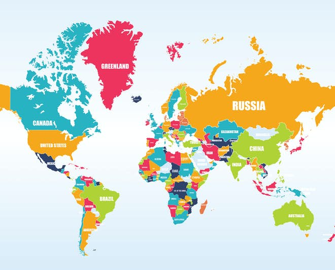 Map of the world, all study destinations