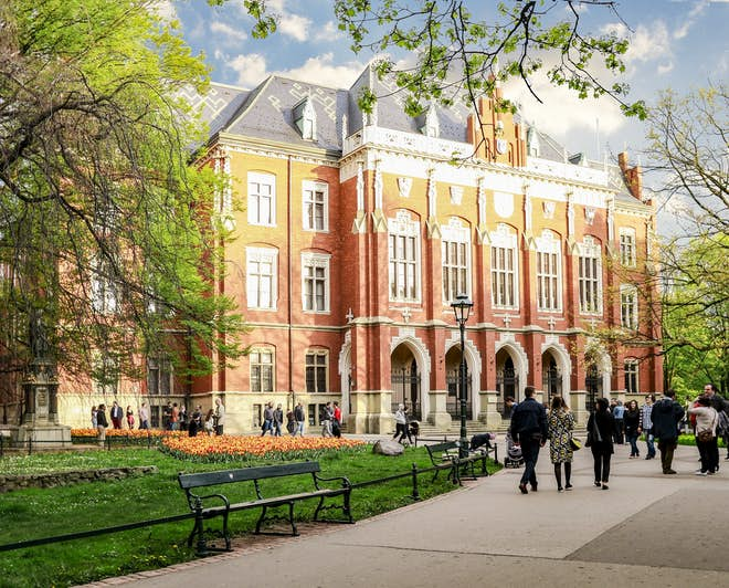 Students going to The Jagiellonian University, the oldest university in Poland