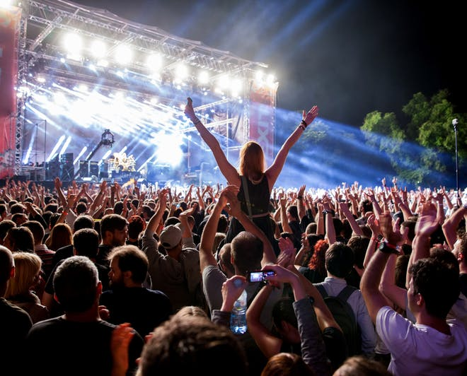 People enjoying a concert during night-time